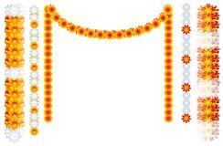 Indian orange flower garland mala frame isolated on white vector illustration