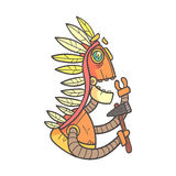 Indian Orange Robot In War Bonnet With Tomahawk Cartoon Outlined Illustration With Cute Android And His Emotions Royalty Free Stock Images