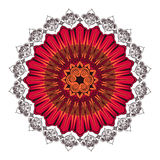 Indian ornament circular rosette. Color red. Vector ornaments in Indian style Stock Illustration