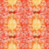 Indian Ornament Elephant Paisley Yellow Orange - Endless Pattern watercolor royalty free illustration