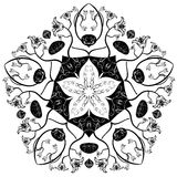 Indian ornament kaleidoscopic floral mandala Stock Image