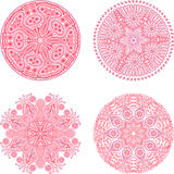Indian ornament, kaleidoscopic floral pattern, mandala. Set of f Royalty Free Stock Photo