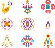 Indian ornamental designs. A set of colorful Indian ornamental designs Stock Photos