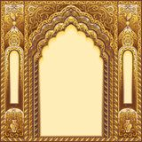 Indian ornamented arch. Color gold Royalty Free Stock Photography