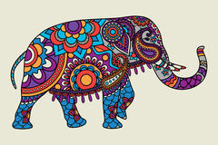 Indian ornate elephant colored illistration Stock Photography