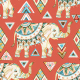 Indian ornate elephant watercolor with tribal elements seamless pattern Royalty Free Stock Images
