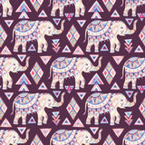 Indian ornate elephant watercolor with tribal elements seamless pattern Stock Image