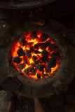 Indian Oven. Round oven with red coals. Red-hot coals. Texture fire. Texture coals. Oven for cooking cakes Stock Photos