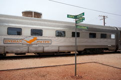 Indian Pacific stops at Cook. The Indian Pacific train, going from Perth to Adelaide, stops at Cook station Stock Image