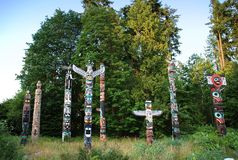 Indian painted totem in Canada Stock Photography