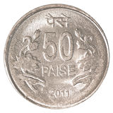 50 indian paise coin. Isolated on white background Stock Images