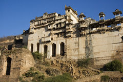 Indian Palace. This is Bundi Palace, a former royal household in Rajasthan Stock Photo