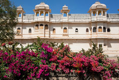 Indian palace behind the colorful flowers Royalty Free Stock Image