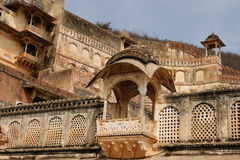 Indian palace, Bundi. India, detail of the decorated balcony in the palace in the Bundi city in Rajasthan Stock Photos