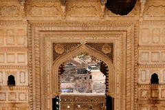 Indian palace, Bundi. India, detail of the decorated window in the palace in the Bundi city in Rajasthan Stock Images