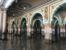 Indian palaces architecture art and designs. Old indian palace interior art designs royalty free stock photos