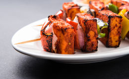 Indian paneer tikka or barbecue cheese cottage. Paneer Tikka Kabab - Tandoori Indian cheese skewers, malai paneer tikka / malai paneer kabab, chilli paneer Royalty Free Stock Image