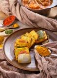 Indian paneer tikka served with chicken tikka masala Stock Photo