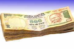 Indian paper currency. Isolated on coloured background Royalty Free Stock Photography