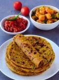 Indian Parantha fenugreek flat bread-methi thepla stock photos