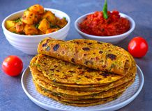 Indian Parantha stuffed indian bread-methi thepla royalty free stock images