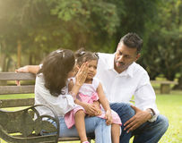 Indian parent dealing. With daughter with tantrum Stock Photo