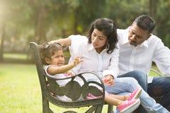 Indian parent dealing with daughter. With tantrum Stock Photos