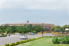 Indian parliament. Delhi, India, August 14, 2011- Indian parliament, view from Sansad Marg Royalty Free Stock Images