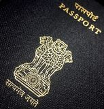 Indian passport cover page stock image