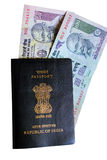 Indian passport and currency Royalty Free Stock Photos
