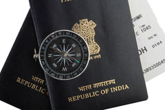 Indian passports, magnetic compass, boarding pass Stock Photo