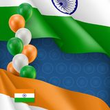 Indian patriotic banner with space for text. Realistic waving indian flag and colorful balloons decoration on blue background. Independence and freedom Stock Photo
