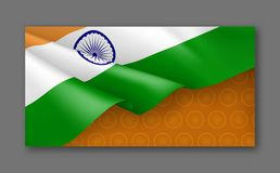 Indian patriotic festive background with tricolor. Realistic waving indian flag on orange background. India republic day card with empty space. Independence Royalty Free Stock Photo