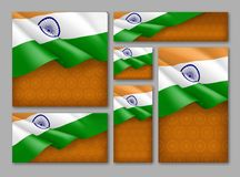 Indian patriotic festive banners set. Realistic waving indian tricolor on orange background. Independence, democracy and freedom vector layouts. India republic Stock Images