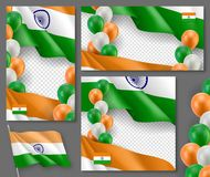 Indian patriotic festive posters set. Realistic waving indian flag and colorful air balloons on white background. Independence and freedom vector layouts Royalty Free Stock Photos