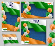 Indian patriotic festive posters set. Realistic indian flag and colorful balloons decoration on blue background. Independence and freedom vector layouts. India Royalty Free Stock Photography