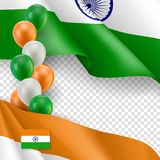 Indian patriotic template with space for text. Realistic waving indian flag and colorful air balloons on transparent background. Independence and freedom Royalty Free Stock Photography