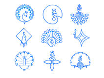 Indian Peacock Icon Set Royalty Free Stock Images