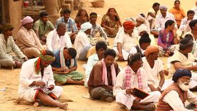 Indian people with Books at village stock footage