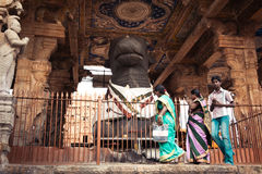 Indian people at Brihadeeswarar Temple. India Royalty Free Stock Photos
