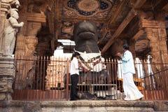 Indian people at Brihadeeswarar Temple. India Royalty Free Stock Images