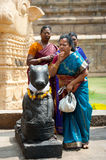 Indian people brings offerings to Nandi Bull at Gangaikonda Cholapuram Temple Royalty Free Stock Photos