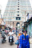 Indian people at crowded street near Sri Ranganathaswamy Temple Royalty Free Stock Photography