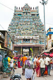 Indian people at crowded street near Sri Ranganathaswamy Temple Stock Photo