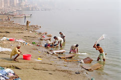 Varanasi Ganges Laundry, India Stock Images