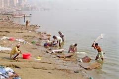 Varanasi Ganges Laundry, India stock images