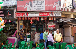 Indian people at the drink shop near the New Market, Kolkata, India Stock Photo