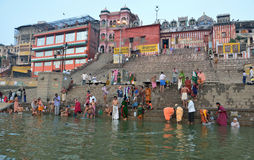 Indian People and Ghats in Varanasi Royalty Free Stock Photo