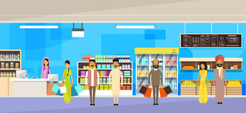 Indian People Group With Bags Big Shop Super Market Shopping Mall Interior India Customers Stand In Line Royalty Free Stock Photography