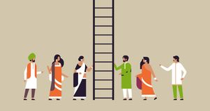 Indian people group climbing career ladder new job opportunities successful business strategy concept flat horizontal. Vector illustration royalty free illustration